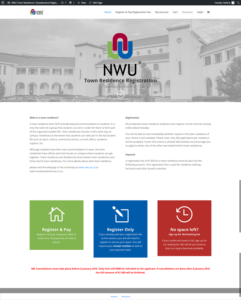NWU Town Residence   Dorpskoshuis Registrasie   NWU Pukke