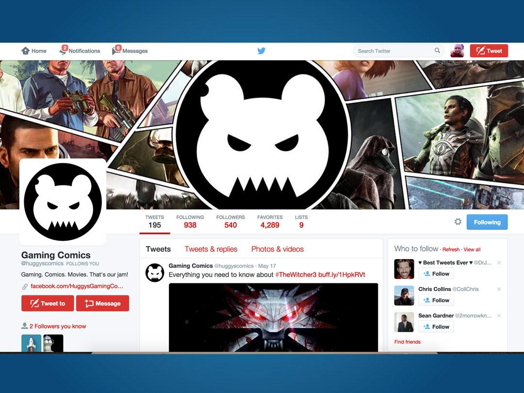 Huggies Gaming Comics Twitter Profile Design