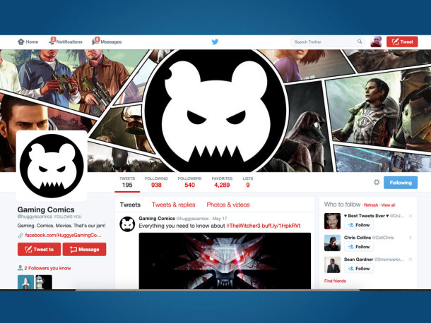 Huggies Gaming Comics Twitter Profile Design
