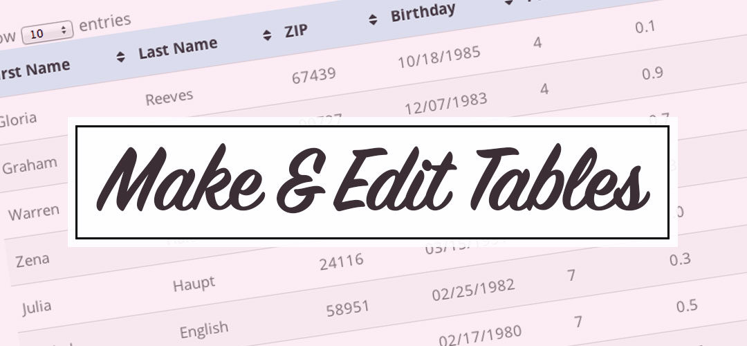 How to add and edit a table on your website using the TablePress Plugin